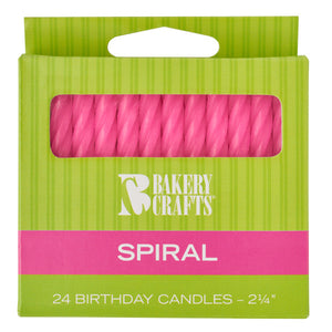 A Birthday Place - Cake Toppers - Pink Spiral Candles