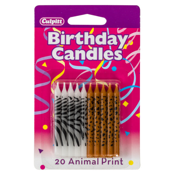 A Birthday Place - Cake Toppers - 20 Animal Print Candles