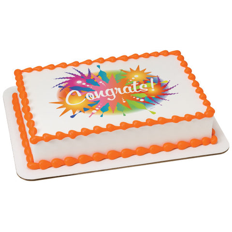A Birthday Place - Cake Toppers - Congrats Starburst Edible Cake Topper Image