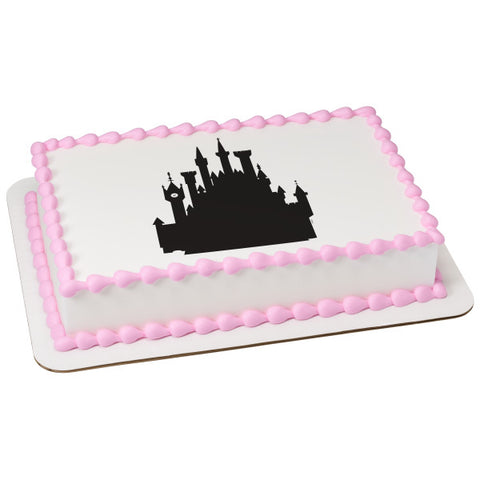 A Birthday Place - Cake Toppers - Disney Castle Silhouette Edible Cake Topper Image