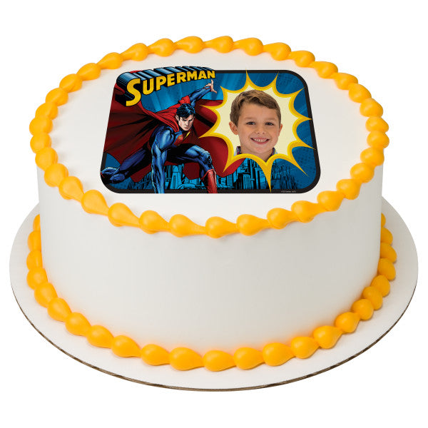 Superman™ Saves the Day Edible Cake Topper Image Frame