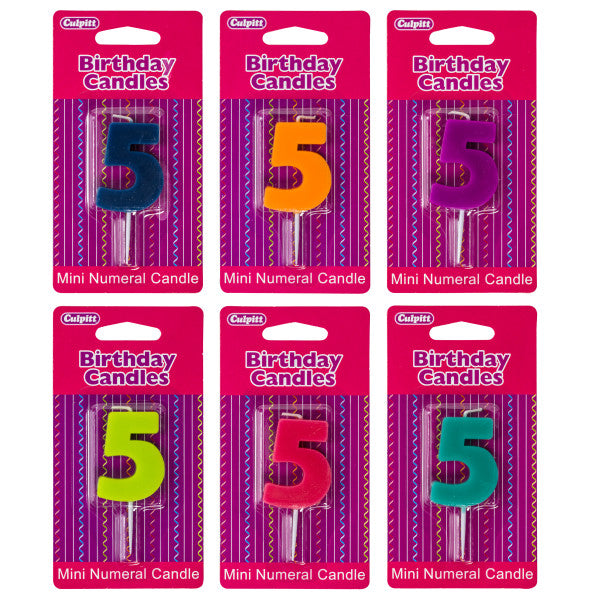 A Birthday Place - Cake Toppers - Mini Color Block Assorted '5' Numeral Candles