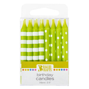 A Birthday Place - Cake Toppers - 16 Lime Stripes & Dots Pattern Candles