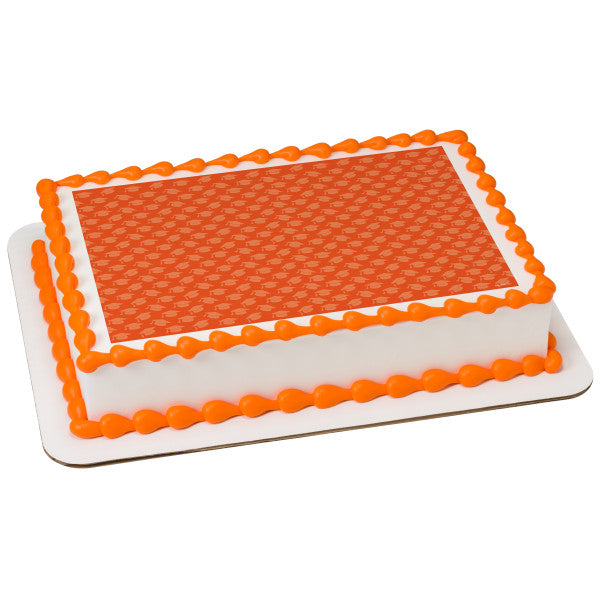 Orange Grad Hats Edible Cake Topper Image