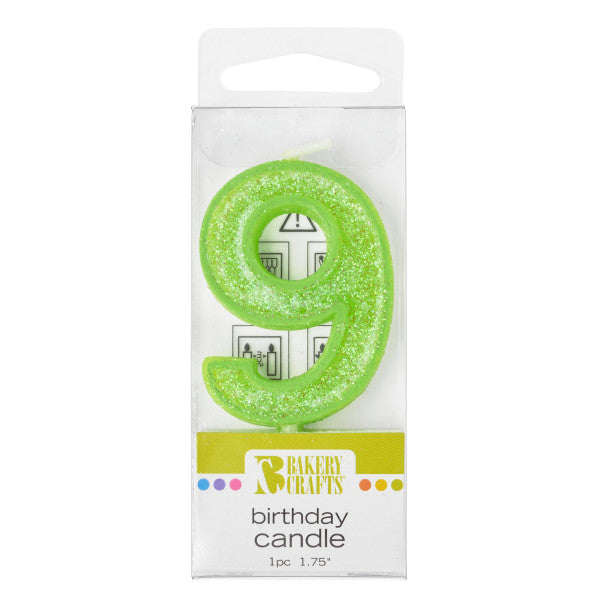 Bakery Crafts '9' Glitter Numeral Candles