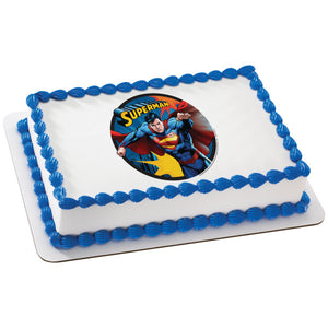 A Birthday Place - Cake Toppers - Superman Up and Away Edible Cake Topper Image