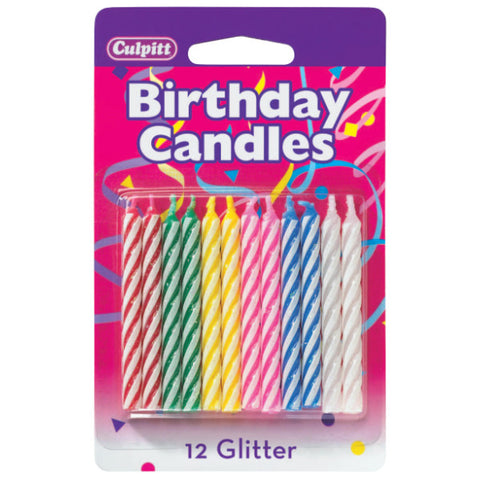 Primary Glitter Smooth & Spiral Candles
