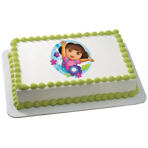 A Birthday Place - Cake Toppers - Dora the Explorer Flowers Edible Cake Topper Image