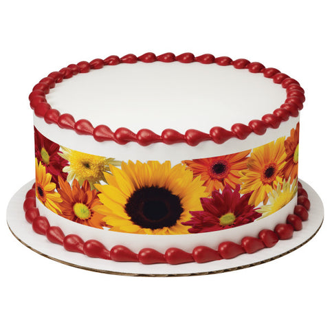 A Birthday Place - Cake Toppers - Fall Flowers Edible Cake Topper Image