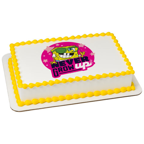 SpongeBob SquarePants™ Never Grow Up Edible Cake Topper Image