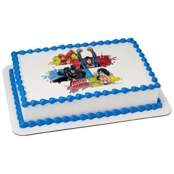 A Birthday Place - Cake Toppers - Justice League Team Unite Edible Cake Topper Image