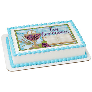 First Communion Edible Cake Topper Image