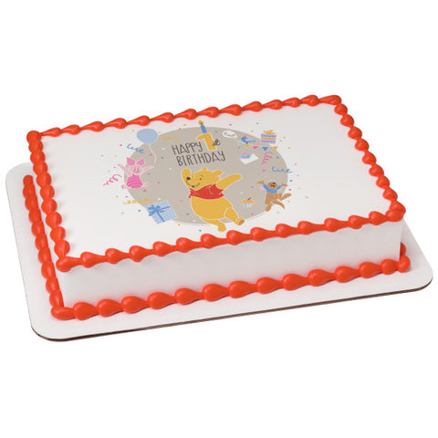 Disney Baby Winnie the Pooh Happy 1st Birthday Edible Cake Topper Image