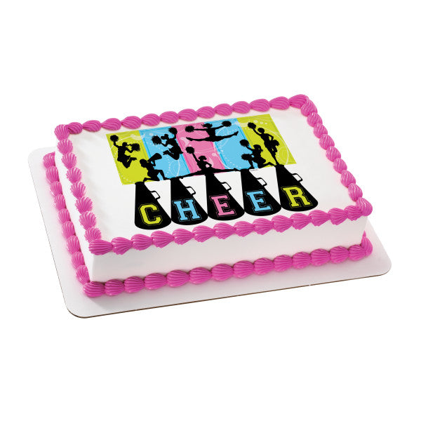Cheerleading Edible Cake Topper Image
