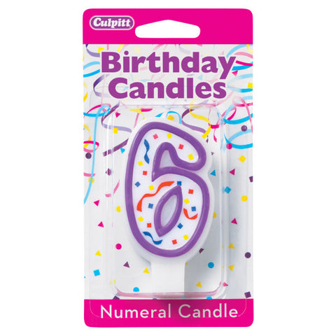 6 Party Purple Numeral Candles