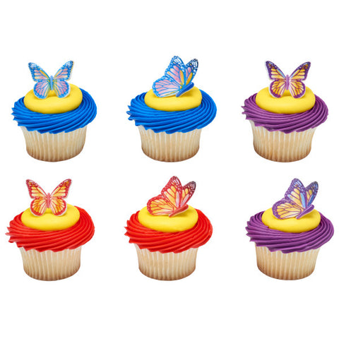 Watercolor Butterflies Cupcake Rings