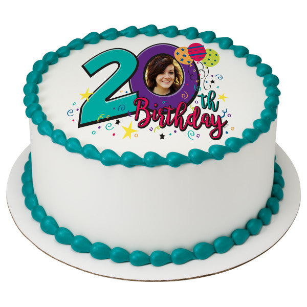 Happy 20th Birthday Edible Cake Topper Image Frame