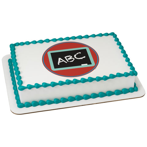 A Birthday Place - Cake Toppers - ABC Blackboard Edible Cake Topper Image
