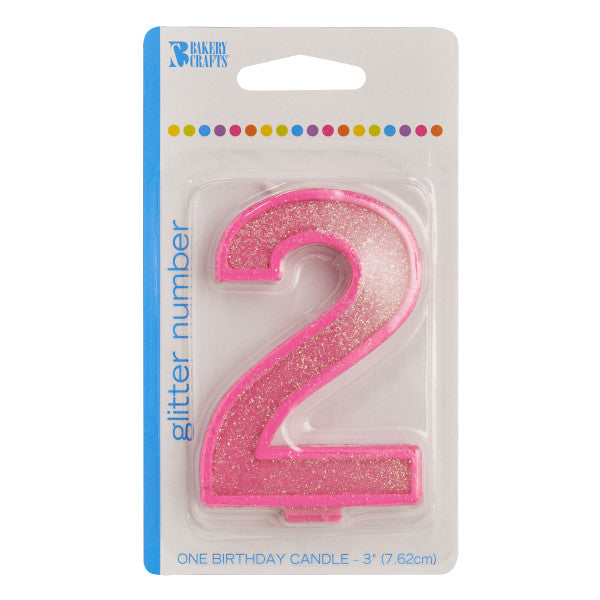 2 Glitter Numeral Candles
