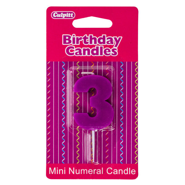 Mini Color Block Assorted '3' Numeral Candles