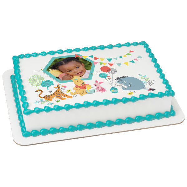 Disney Baby Winnie the Pooh 1st Birthday Edible Cake Topper Image Frame