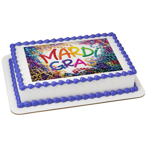 Bright Mardi Gras Beads Edible Cake Topper Image