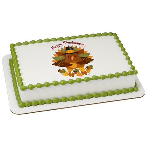 Happy Thanksgiving Turkey Edible Cake Topper Image