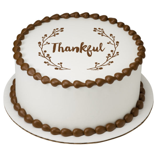 Thankful Edible Cake Topper Image