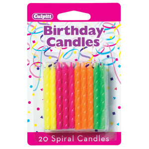 "20 Neon 2 ½"" Smooth & Spiral Candles"