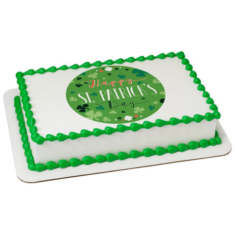Happy St. Patrick's Day Edible Cake Topper Image