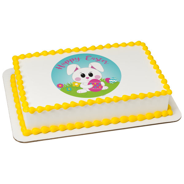 Happy Easter Bunny Edible Cake Topper Image A Birthday Place