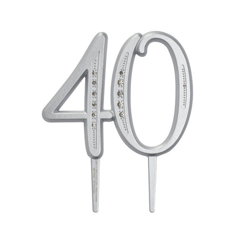 "A Birthday Place - Cake Toppers - ""40"" Diamond Milestone Monogram"