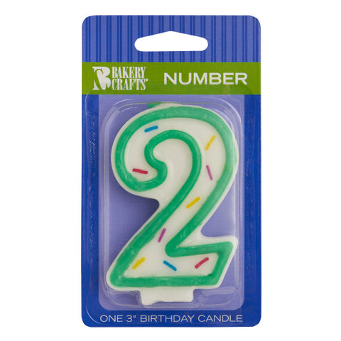 "A Birthday Place - Cake Toppers - Numeral ""2"" Sprinkle Candles"