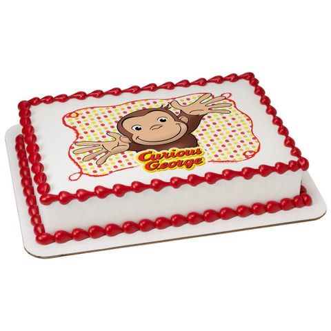Curious George® Let's Celebrate Edible Cake Topper Image