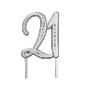 "A Birthday Place - Cake Toppers - ""21"" Diamond Milestone Monogram"