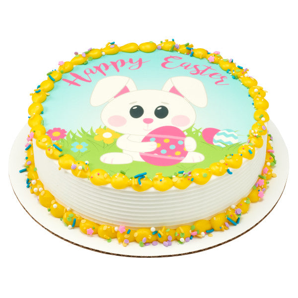 Happy Easter Bunny Edible Cake Topper Image