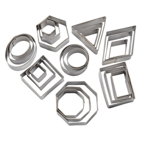 Geometric Shapes Assorted Sizes, 24-Piece Set Cutters/Molds