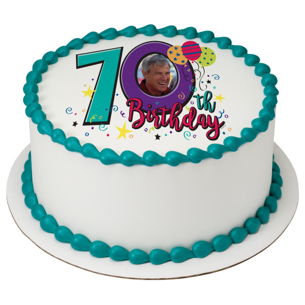 Happy 70th Birthday Edible Cake Topper Frame A Place