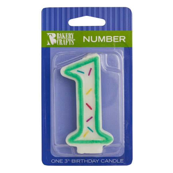 "A Birthday Place - Cake Toppers - Numeral ""1"" Sprinkle Candles"