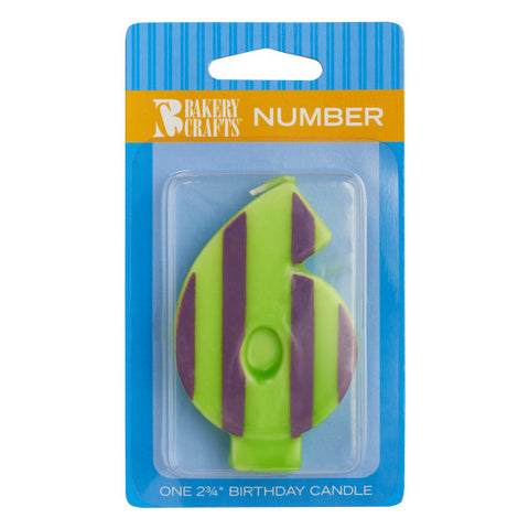 A Birthday Place - Cake Toppers - Bakery Crafts '6' Numeral Stripes & Dots Candles