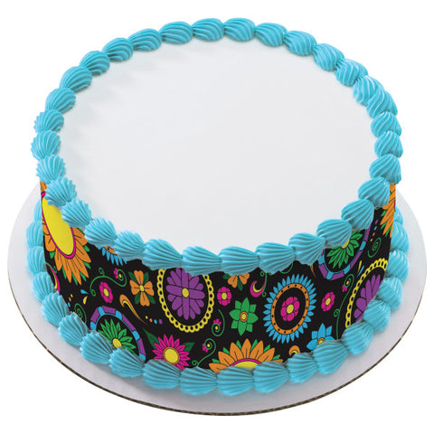 A Birthday Place - Cake Toppers - Dia de los Muertos Pattern Edible Cake Topper Image Strips