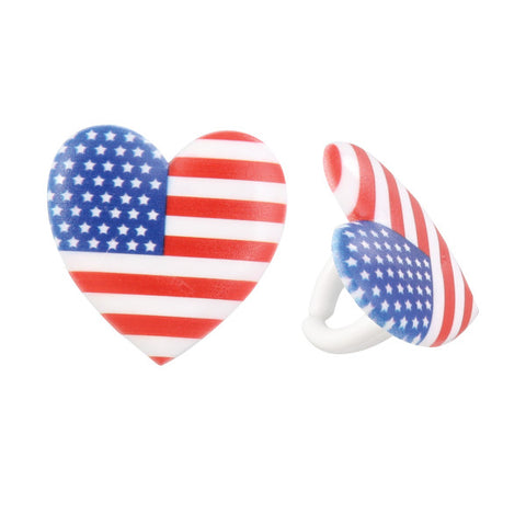 A Birthday Place - Cake Toppers - I Love the USA Cupcake Rings