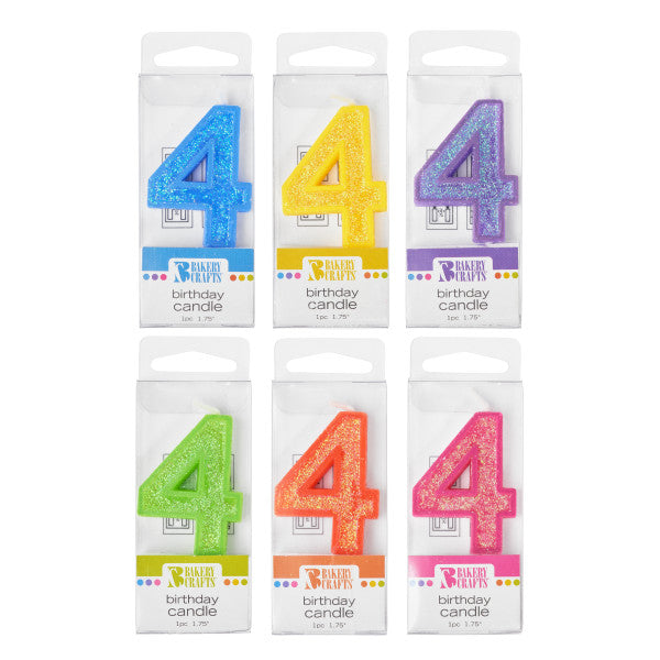 A Birthday Place - Cake Toppers - Bakery Crafts '4' Glitter Numeral Candles