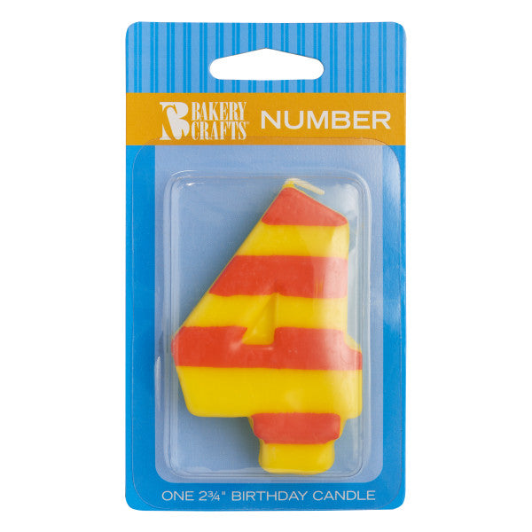 Bakery Crafts '4' Stripes & Dots Numeral Candles