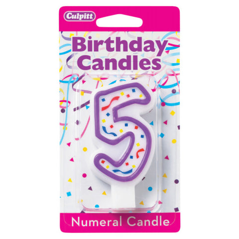 A Birthday Place - Cake Toppers - 5' Purple Numeral Candles