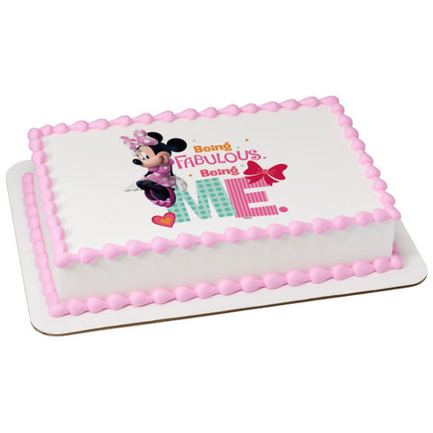A Birthday Place - Cake Toppers - Minnie Being Me Edible Cake Topper Image