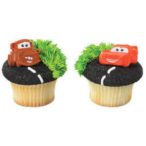 A Birthday Place - Cake Toppers - Cars Mater & McQueen Cupcake Rings