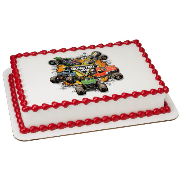 Monster Jam-Monster Trucks Edible Cake Topper Image