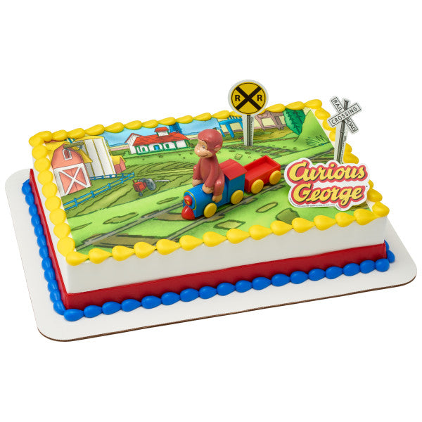 Curious George® Train Edible Cake Topper Image DecoSet® Background