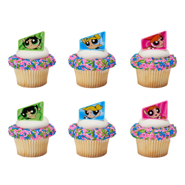 A Birthday Place - Cake Toppers - Powerpuff Girls Saving the World Cupcake Rings